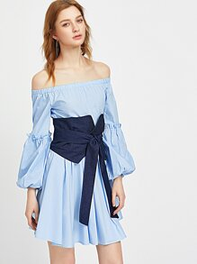 Off Shoulder Bishop Sleeve Dress With Obi Belt