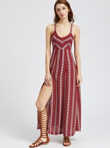 Tribal Striped Lace Up Back High Slit Dress