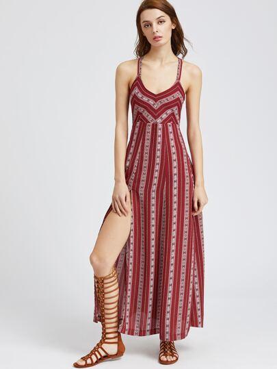 Tribal Striped Lace Up Back High Slit Dress