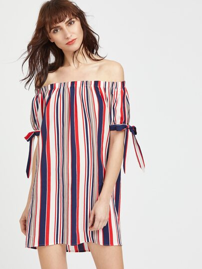 Barcode Stripe Bardot Neckline Tie Sleeve Dress
