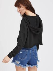Kurz Kapuzen-Sweatshirt mit Druckspitze V-Ausschnitt - schwarz Bilder
