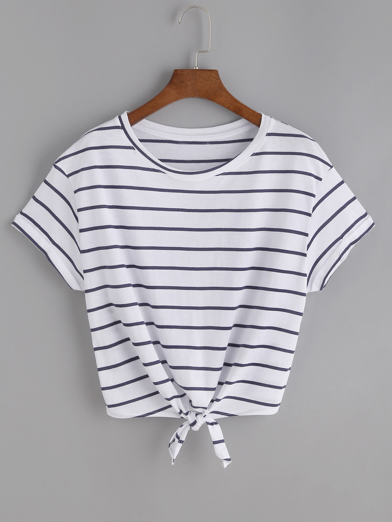 Striped Knot Front Tee knot front fit