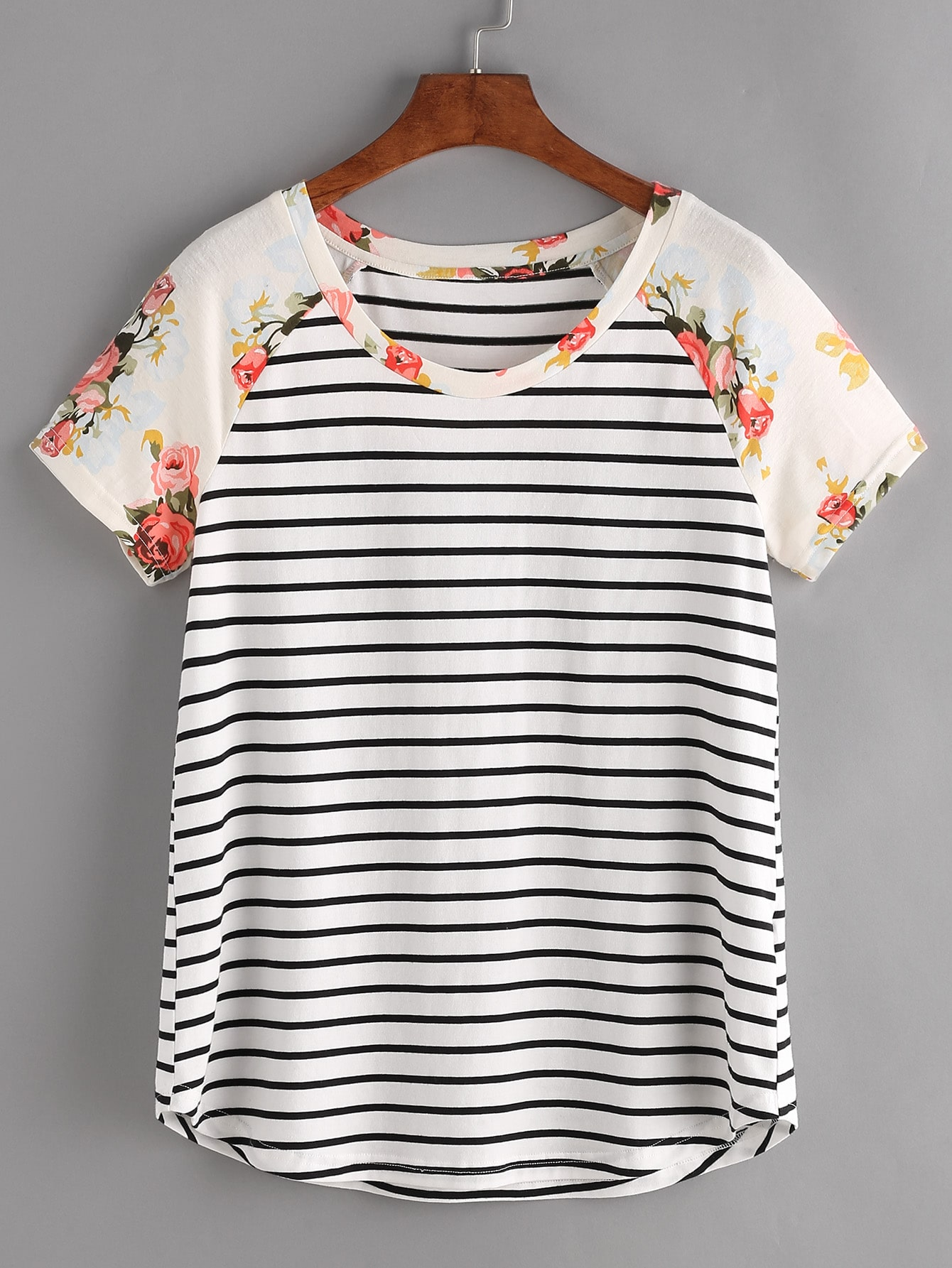 Floral Raglan Sleeve Striped Tee tee170320702