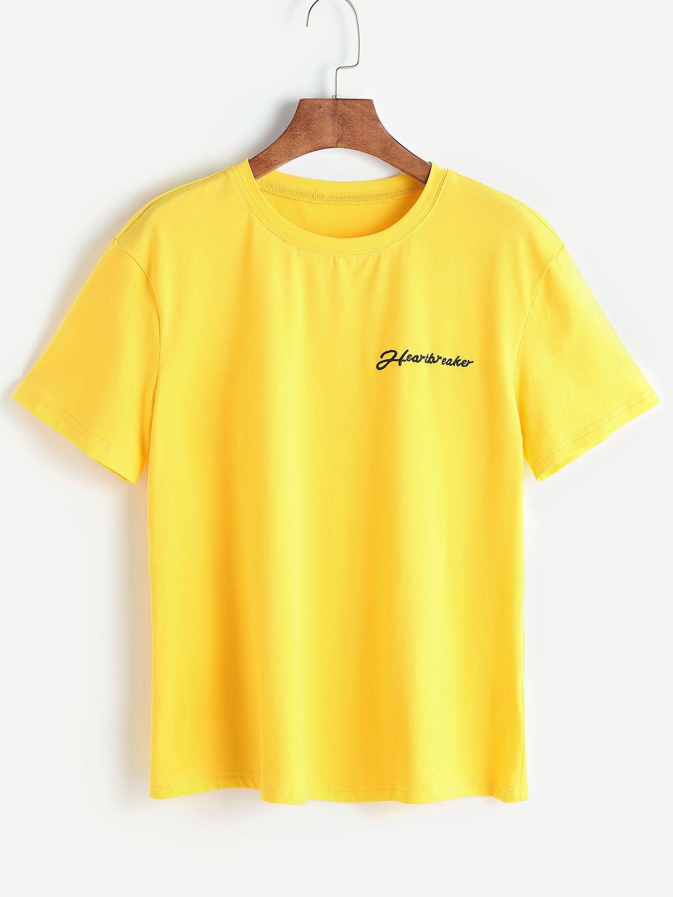 Купить Жёлтая модная футболка с текстовым принтом, null, SheIn