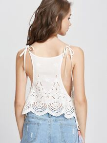 Lace Insert Tasseled Tie Eyelet Embroidered Cami Top pictures