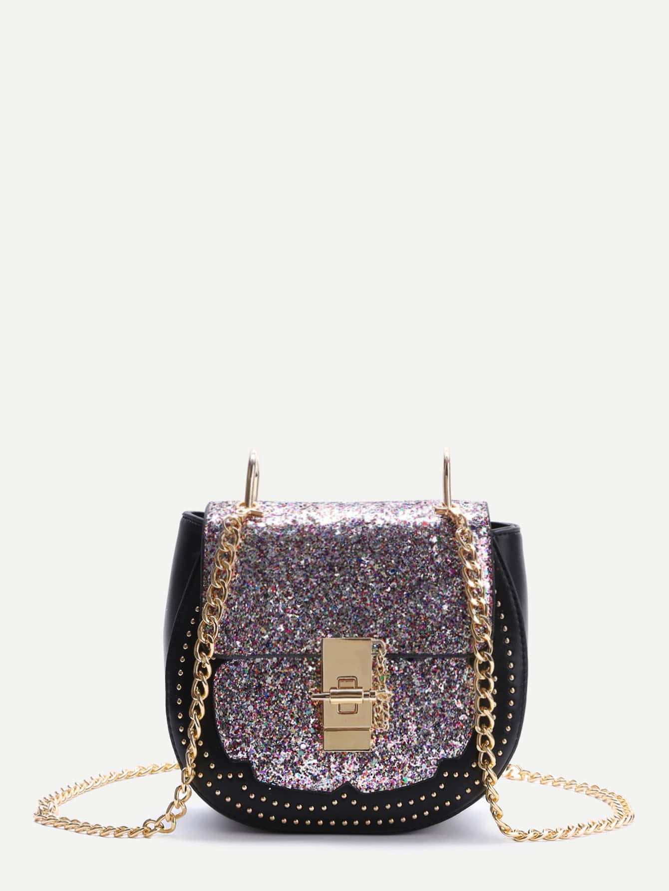 Colorful Sequin Saddle Bag With Chain bag170306903