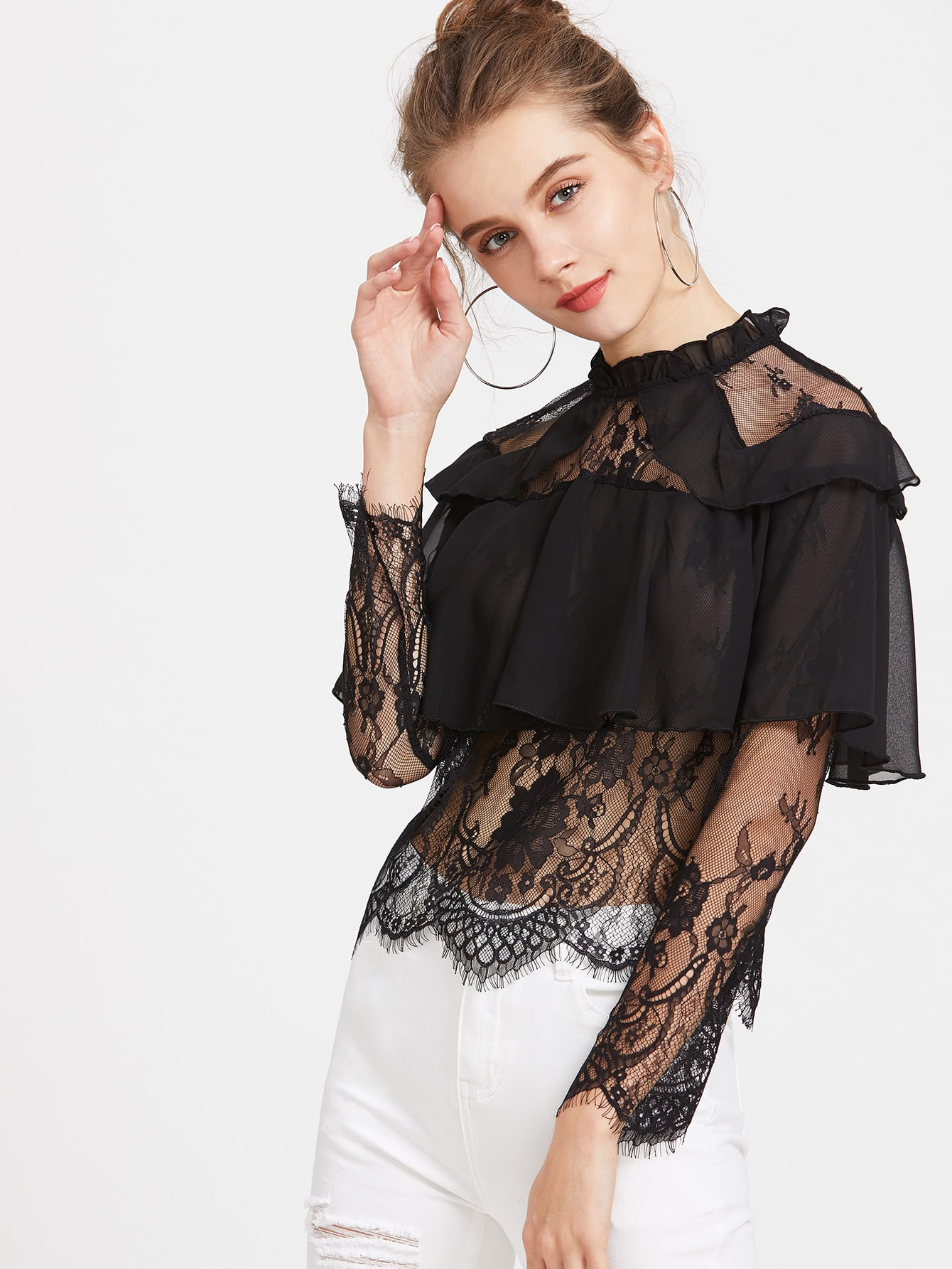Contrast Lace Ruffle Trim Sheer Blouse blouse170310403