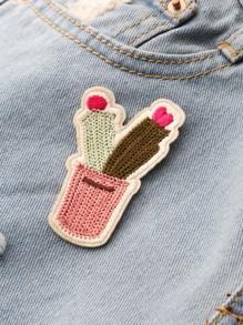 Bloc de couleur Patch Cactus tricoté