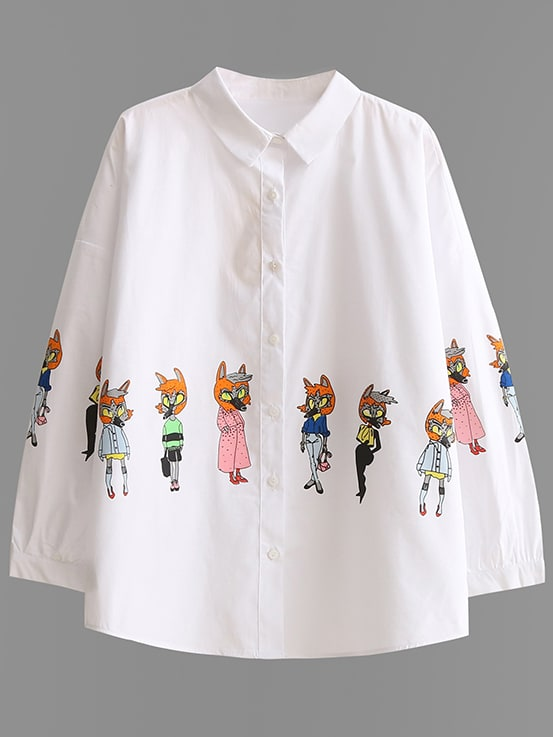 White Cartoon Print Blouse With Buttons blouse170303208