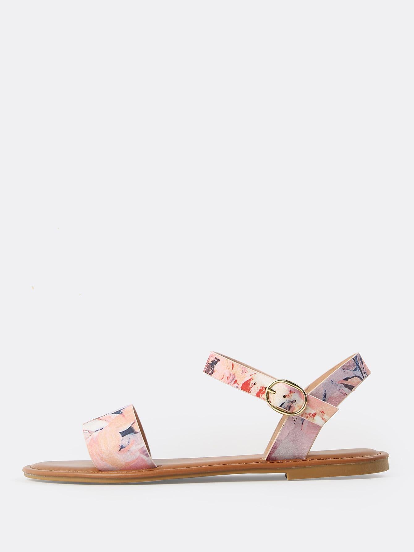 все цены на Single Band Floral Print Sandals BLUSH MULTI