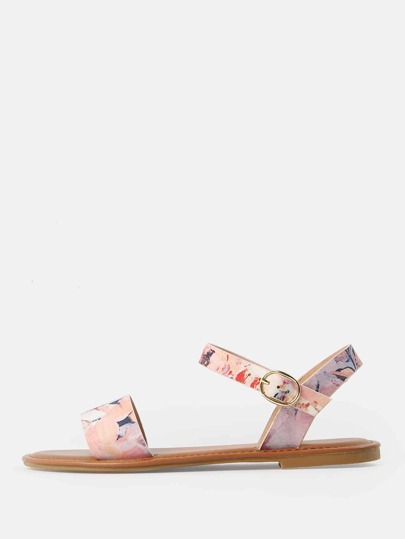 Single Band Floral Print Sandals BLUSH MULTI