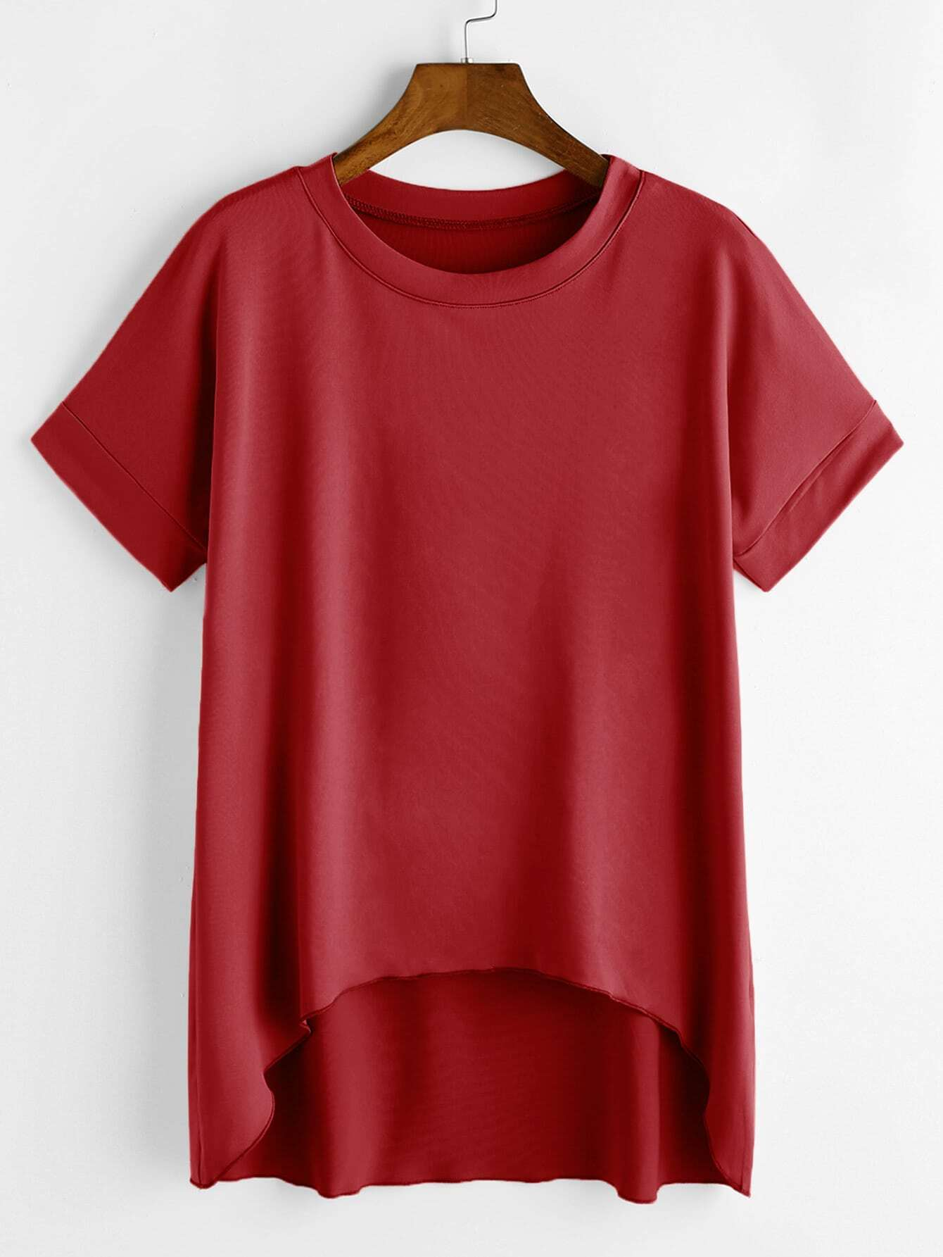 e852014949 Dip Hem Tee · Dip Hem Tee T-Shirts SheIn Product Catalog Red Polyester  Casual Short Sleeve Round Neck ...