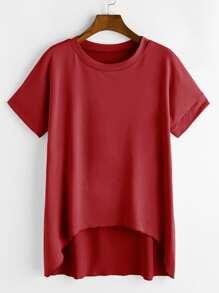 Camiseta asimétrica de mangas cortas - borgoña