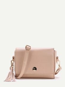Double Tassel Detail PU Shoulder Bag