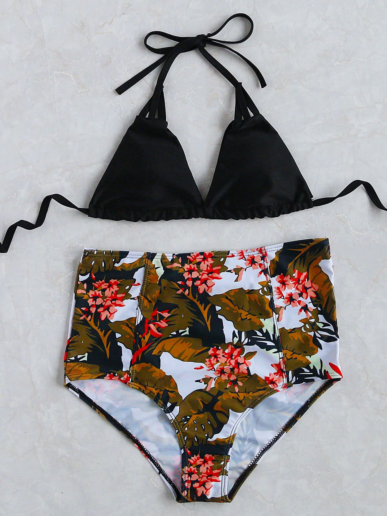 Black Tropical Print High Waist Triangle Bikini Set swimwear170309312