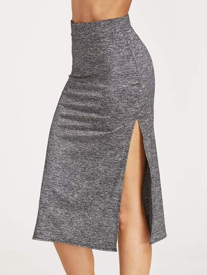 Grey Marled Knit Double High Slit Skirt
