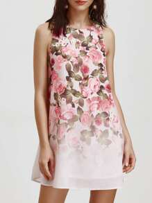 Rose Print Tank Dress