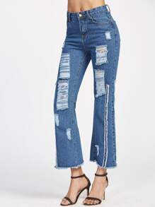 Blue Ripped Raw Hem Flare Jeans