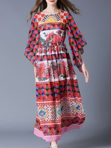 Multicolor Bell Sleeve Tribal Print Maxi Dress