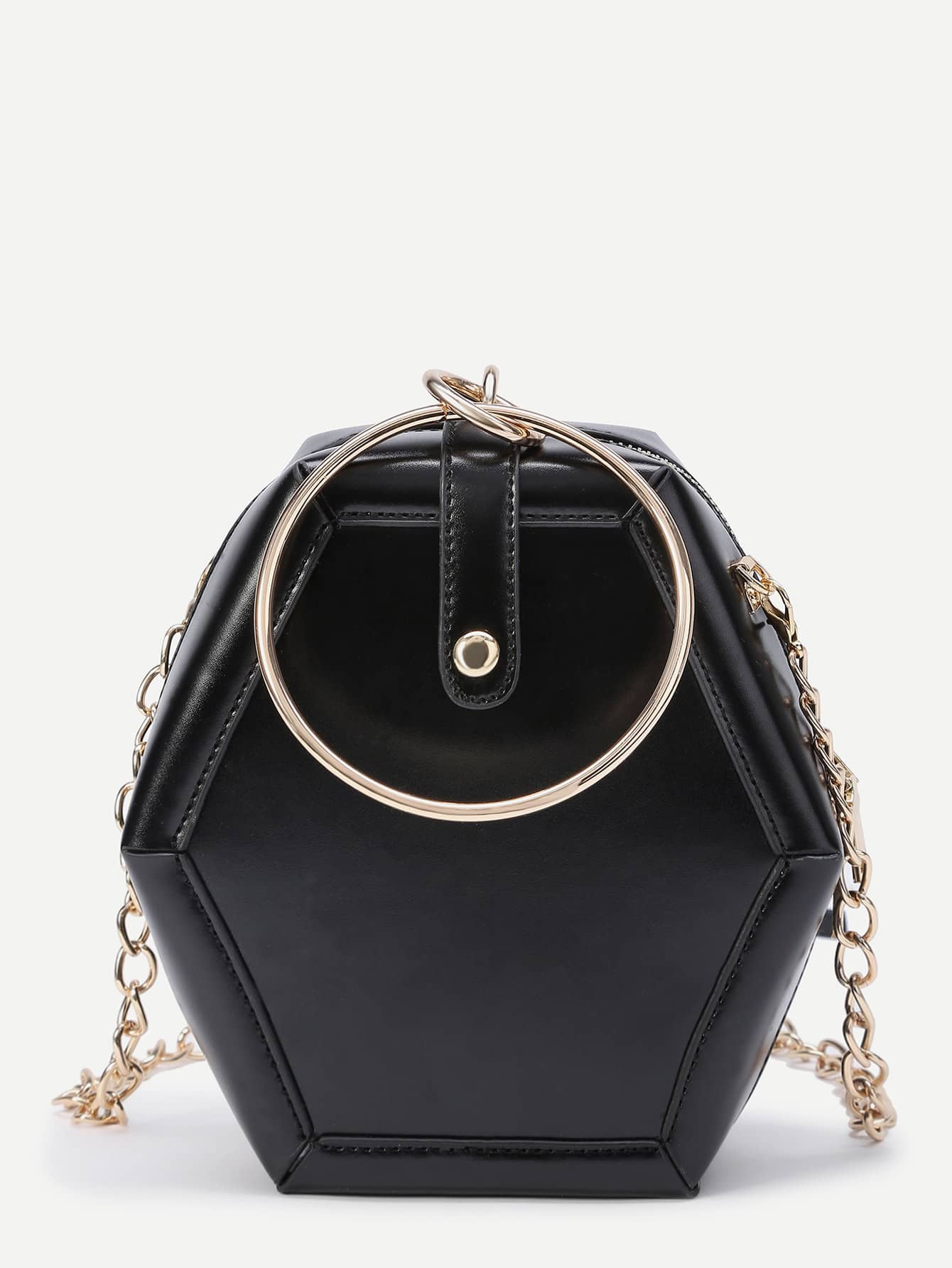 Фото Polygonal Shaped Crossbody Bag With Ring Detail. Купить с доставкой