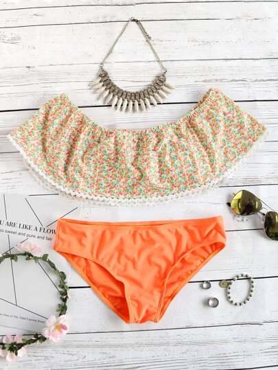 Set con hombro al aire con estampado floral - naranja