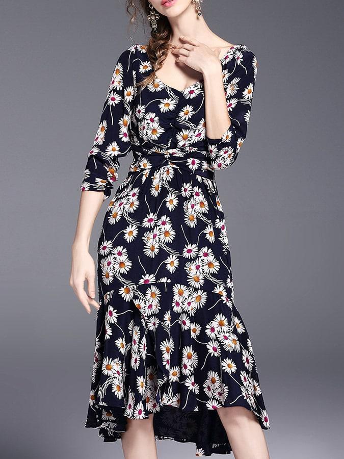 Фото Navy V Neck Backless Tie-Waist Print Dress. Купить с доставкой