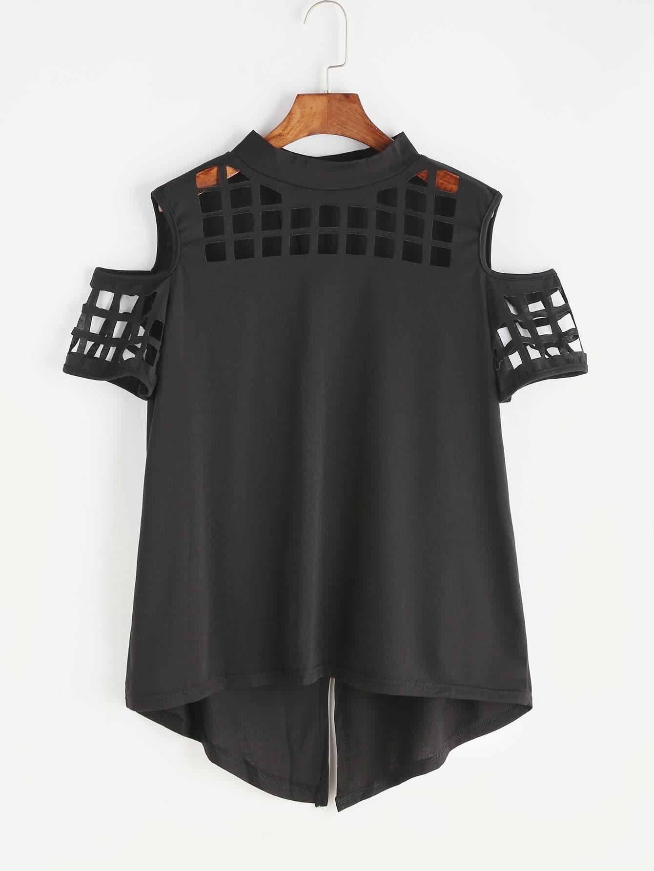 Black Open Shoulder Laser Cut Out Split Back T-shirt open shoulder laser cut out split back tee