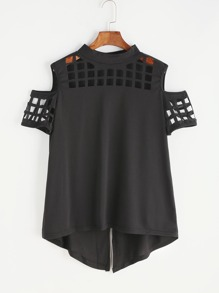 T-shirt con spalle scoperte - nero