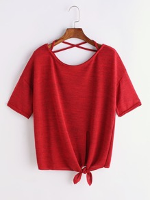 Burgundy Criss Cross Back Knotted Hem T-shirt