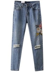 Blue Flower Embroidery Ripped Detail Denim Pants