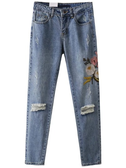 Flower Embroidery Ripped Detail Mom Jeans