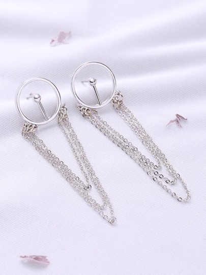 Silver Chain Drop Delicate Earrings