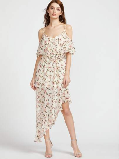 Cold Shoulder Calico Print Ruffle Asymmetric Dress pictures
