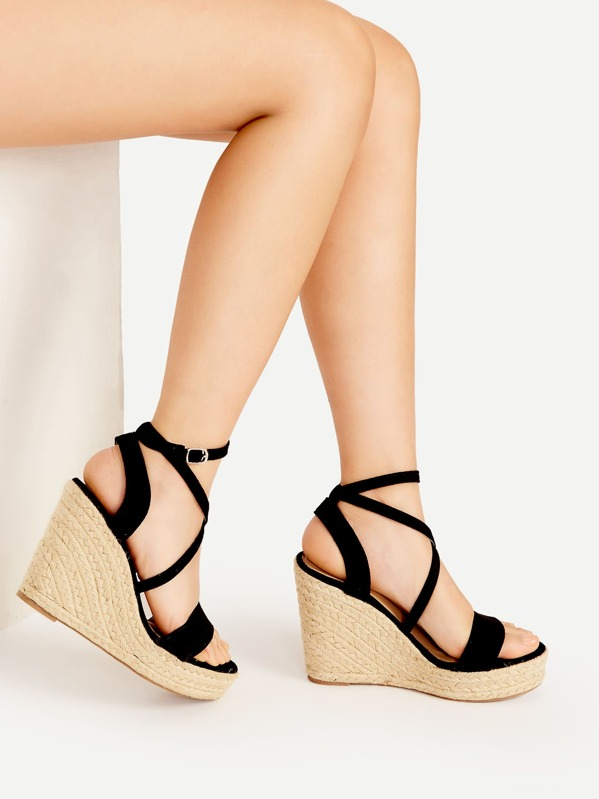 Cross Strap Espadrille Wedges, null