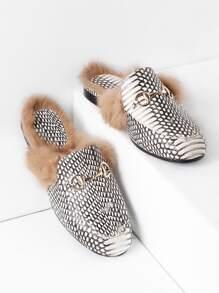 Allineato pelliccia Loafer pantofole