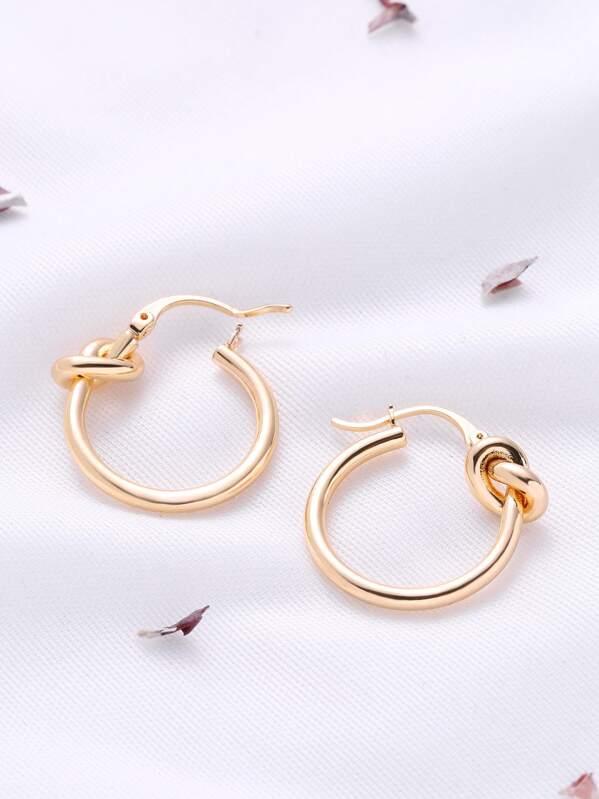 Knot Design Hoop Earrings, null