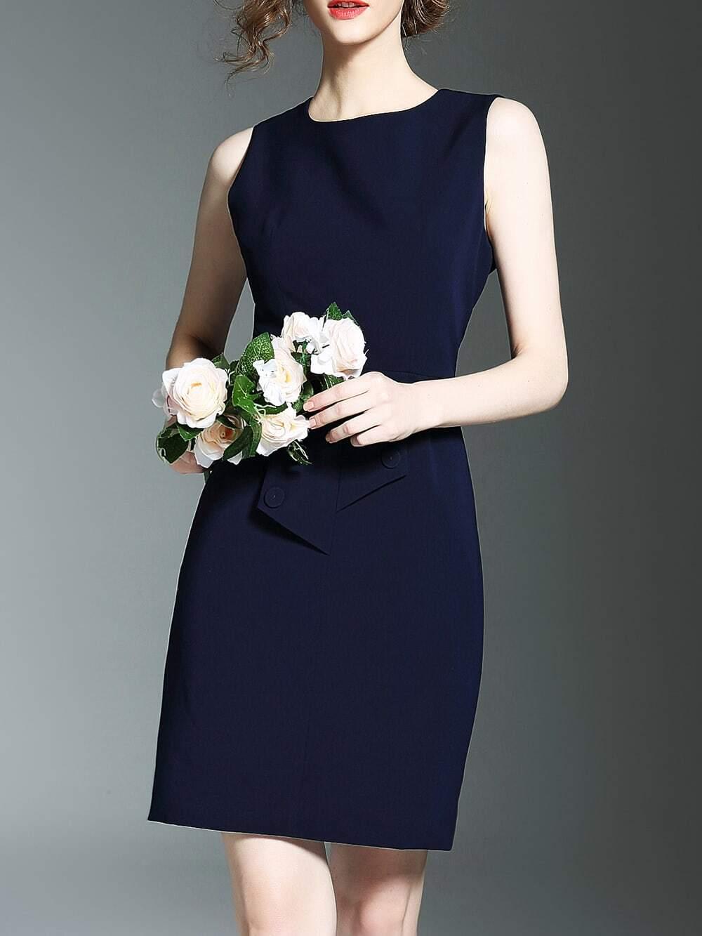 Фото Black Crew Neck Sleeveless Sheath Dress. Купить с доставкой