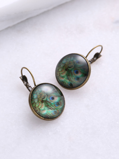 Peacock Pattern Bronze Detail Earrings