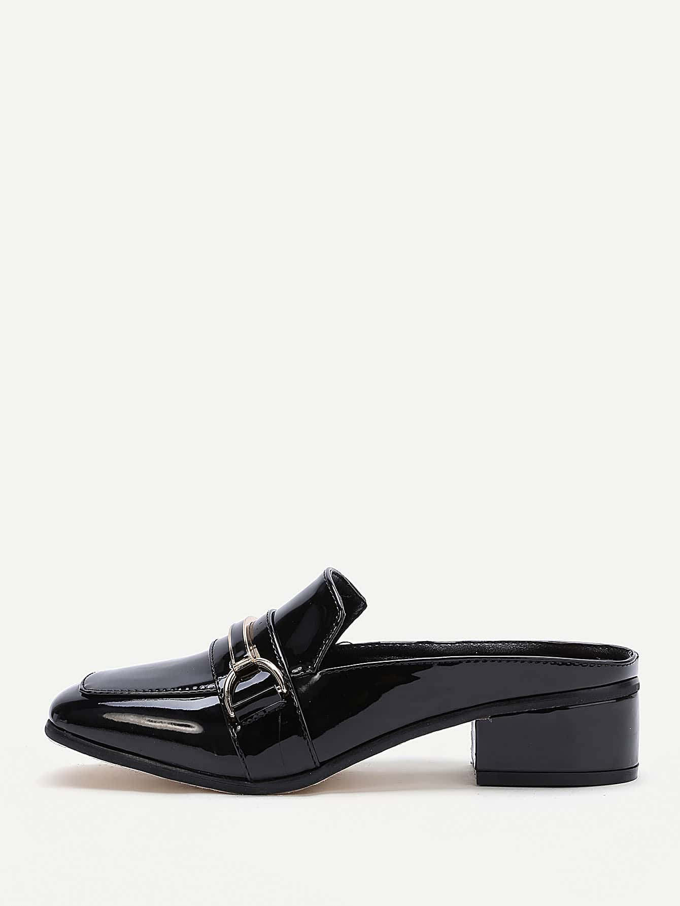 Black Patent Leather Heeled Slippers shoes170306808