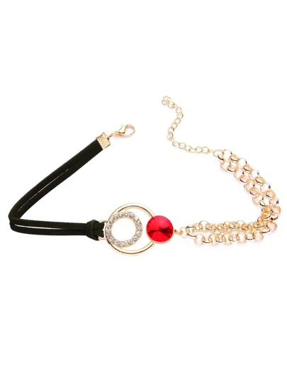 Black Contrast Chain Detail Choker With Gemstone