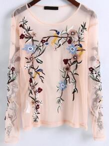 Flower Embroidery Sheer Mesh Blouse