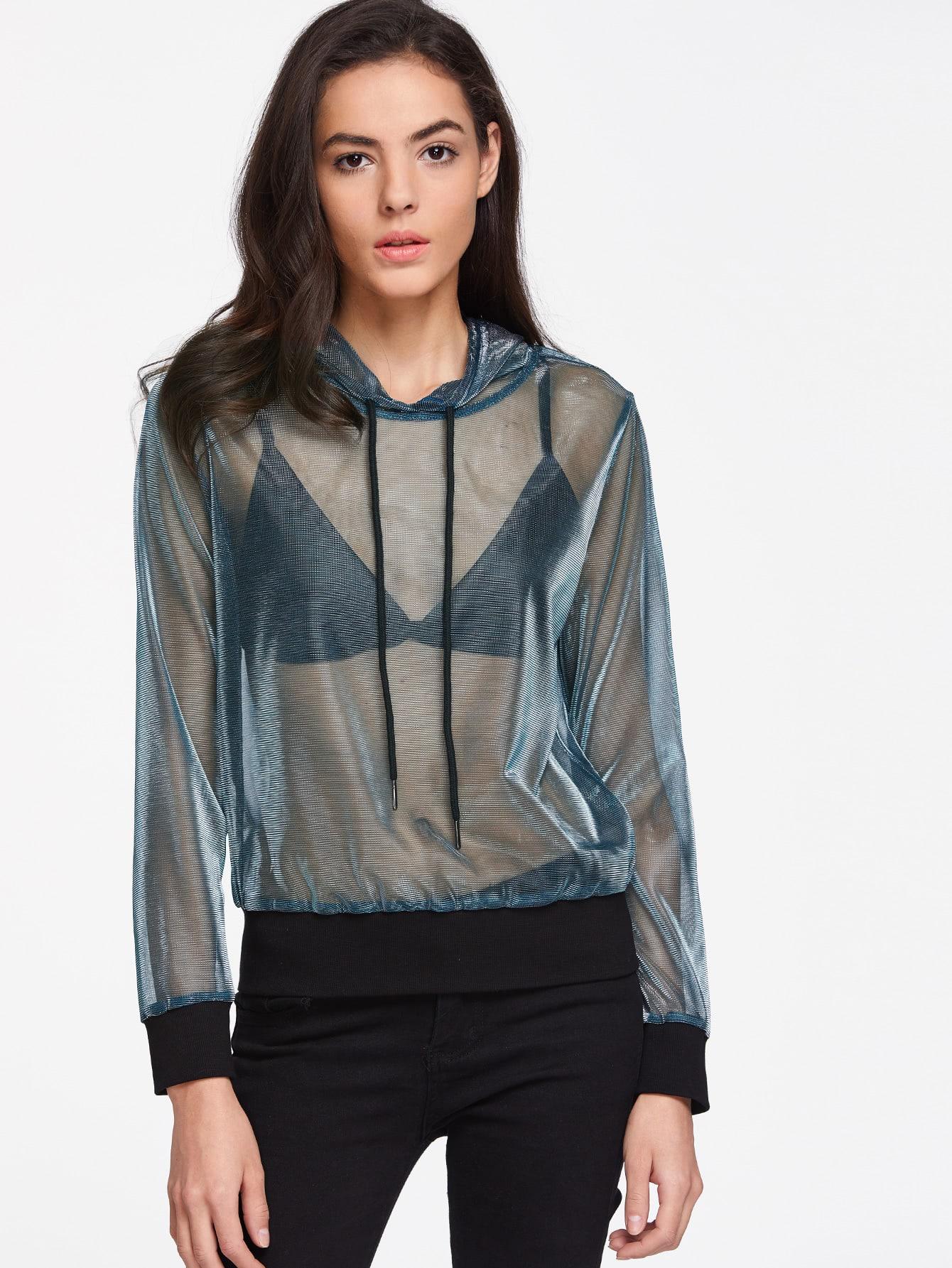 Contrast Ribbed Trim Sheer Metallic Hoodie sweatshirt170331701