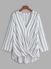 Printed V Neckline Twisted Drape Front Blouse