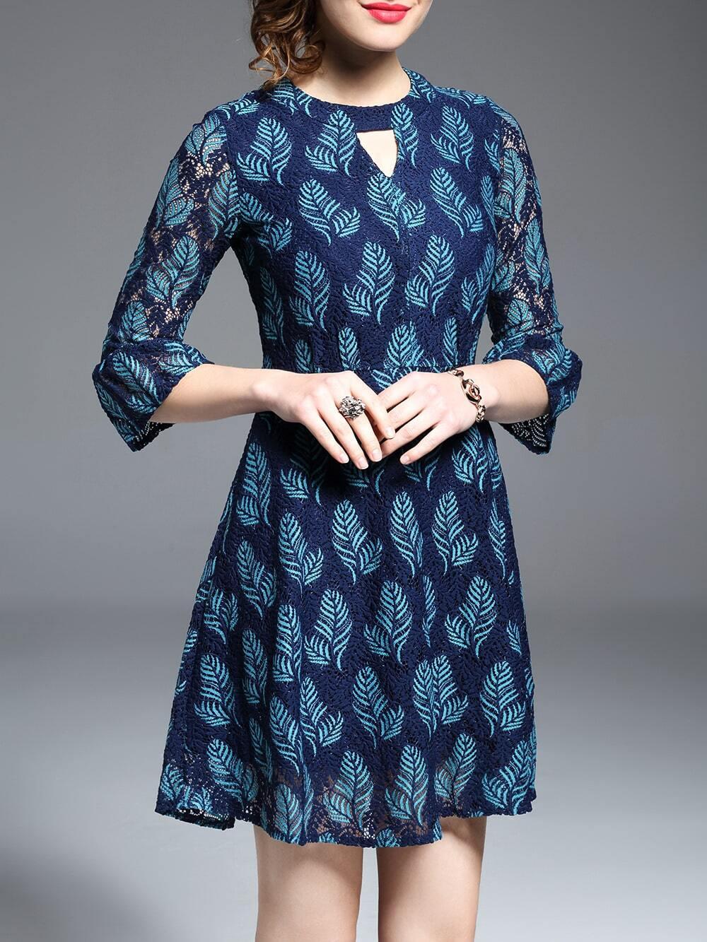 Фото Color Block Hollow Leaves Dress. Купить с доставкой