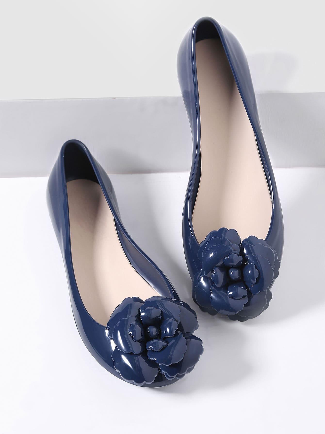 Фото Navy Flower Embellished Ballet Flats. Купить с доставкой