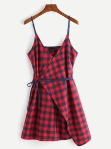 Checkered Surplice Wrap Cami Dress