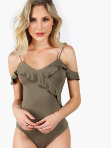 Frill Detail Surplice Front V Back Cold Shoulder Bodysuit