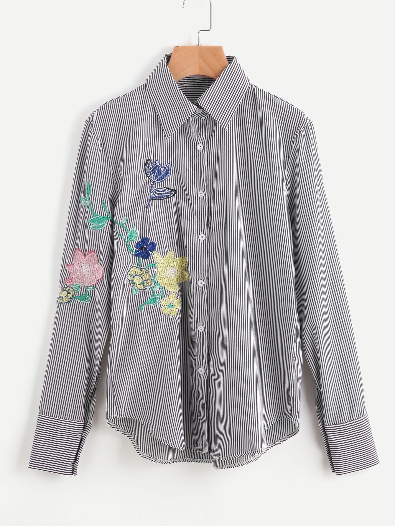 Фото Sharp Collar Pinstripe Embroidery Blouse. Купить с доставкой