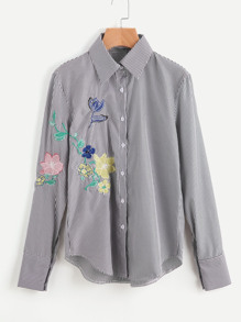 Sharp Collar Pinstripe Embroidery Blouse