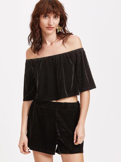Black Velvet Off The Shoulder Crop Top With Shorts